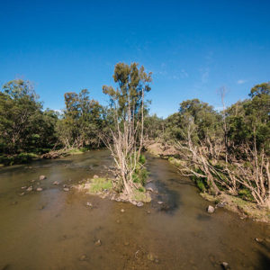 Fitzroy Basin waterway showing signs of flood damage.