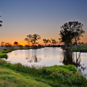 A waterway image in the Fitzroy Basin at sunset.