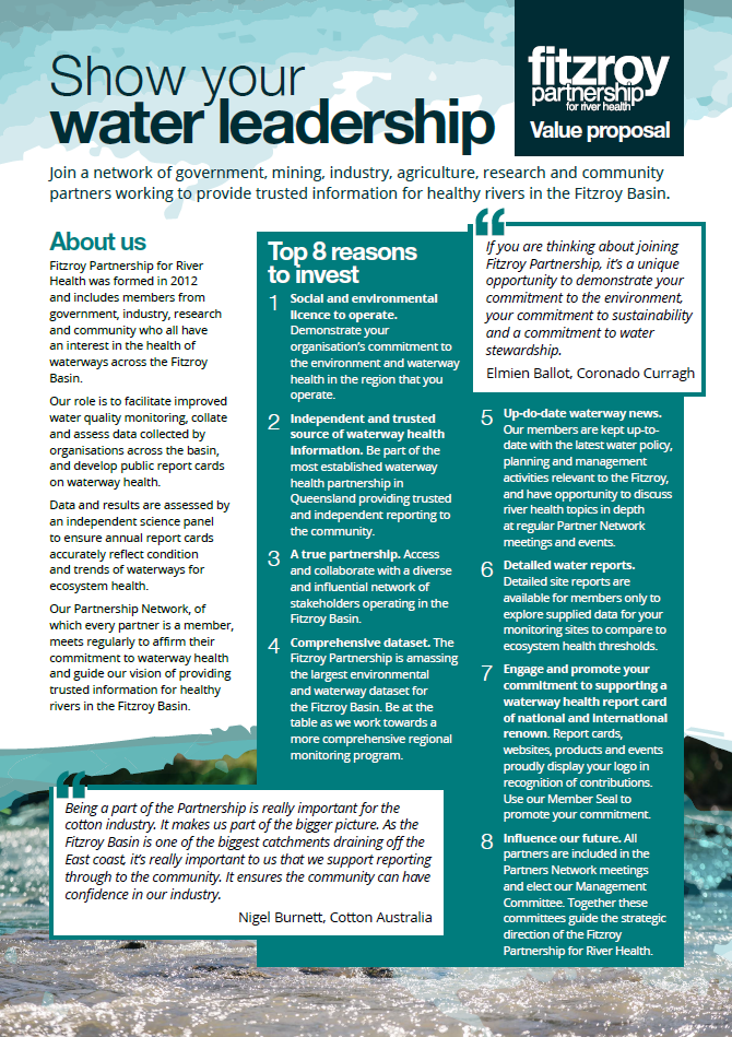 Fitzroy Partnership for River Health Value Proposal - download.